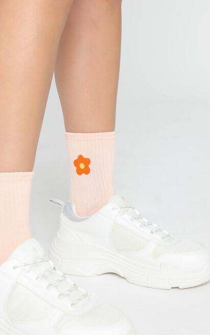 Fashion Footprint Flower Socks in Beige and Marigold, , hi-res image number null