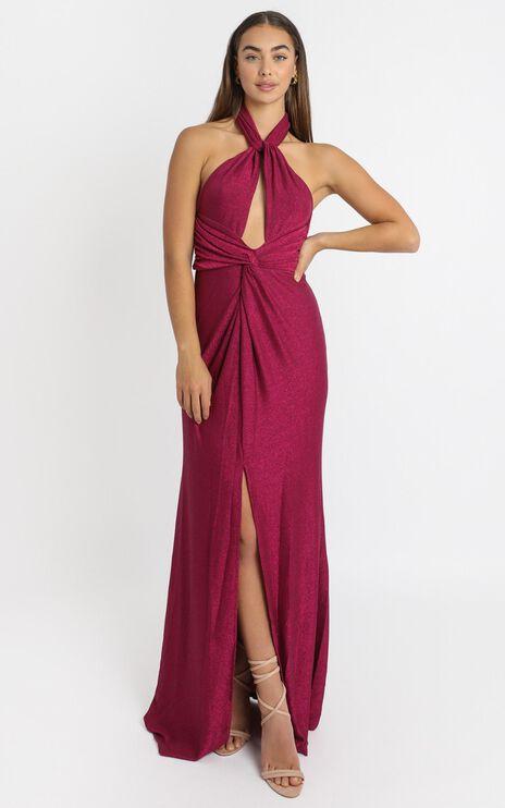 Ensley Twist Front Maxi Dress in Pink Glitter