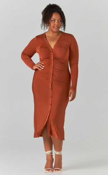 Keagan Ruched Button Front Midi Dress in Rust