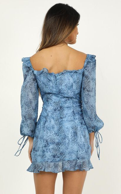 Lioness - Feng Shui Dress In Blue Print - 16 (XXL), Blue, hi-res image number null