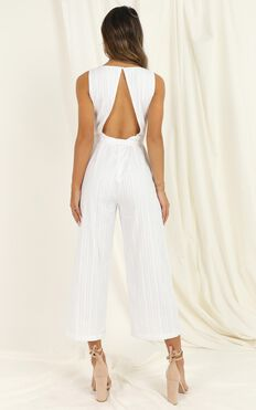 Lifting Spirits Jumpsuit In White