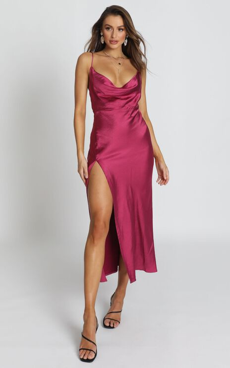 Lioness - Walk The Line Dress In Berry Satin