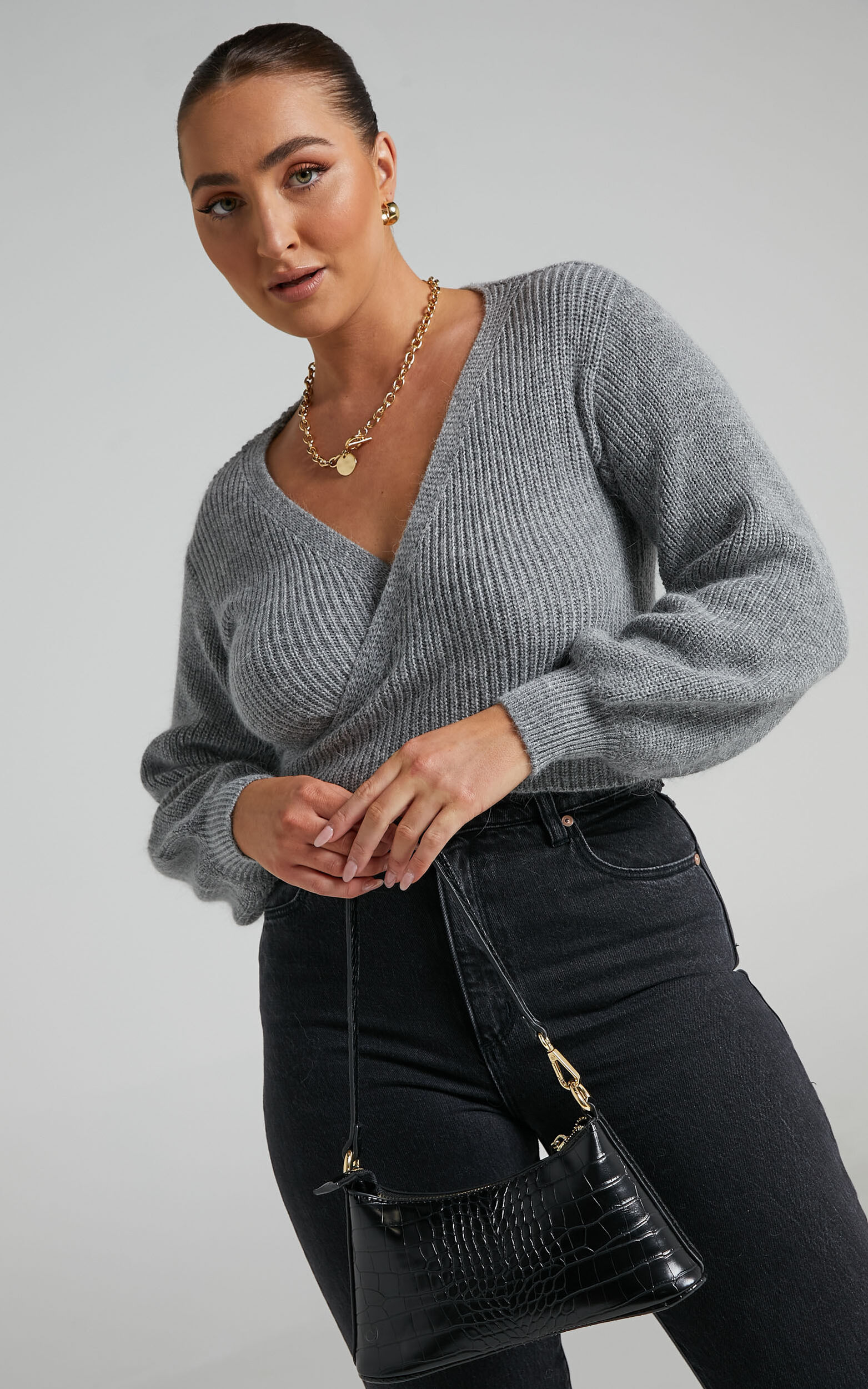 Sweetie Pie Knit Top in Grey - 06, GRY1, super-hi-res image number null