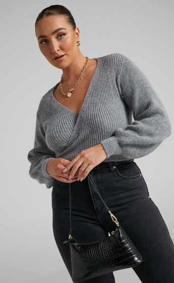 Sweetie Pie Knit Top in Grey