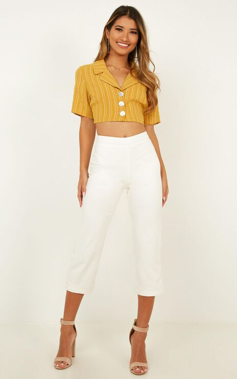 After Everything Top In Mustard Linen Look