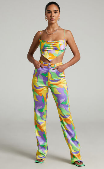 Danielle Bernstein - Saved By The Bell Ankle Flare Pants in Multi