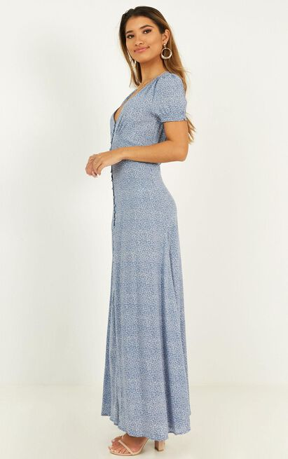 Flaming Hot Maxi Dress in blue floral - 20 (XXXXL), Blue, hi-res image number null