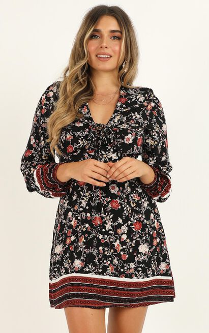Thinking about Holidays Dress in black floral - 20 (XXXXL), Black, hi-res image number null