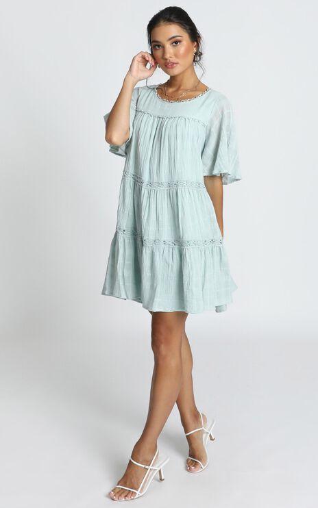 Oceana Tiered Smock Dress in Sage