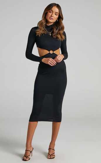 Charlene Side Cut Out High Neck Midi Dress in Black