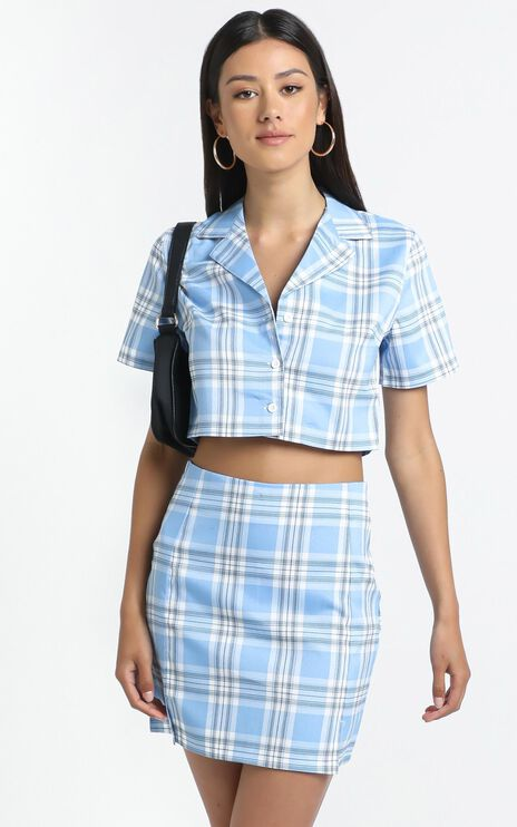 Afton Skirt in Blue Check