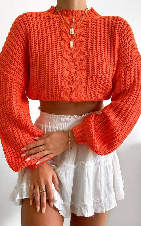 Hug Me Knitted Jumper in Orange
