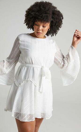 Slow Me Down Bell Sleeve Mini Dress in White