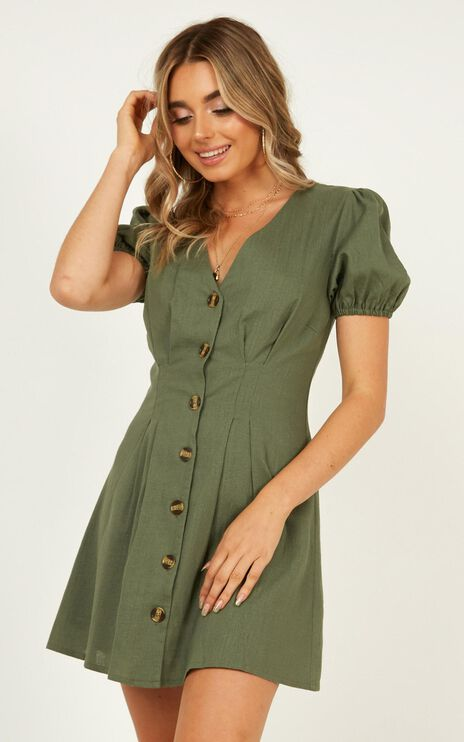 Need And More Dress In Khaki Linen Look