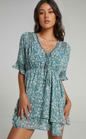 Creative Work Tie Front Mini Dress in Green Floral