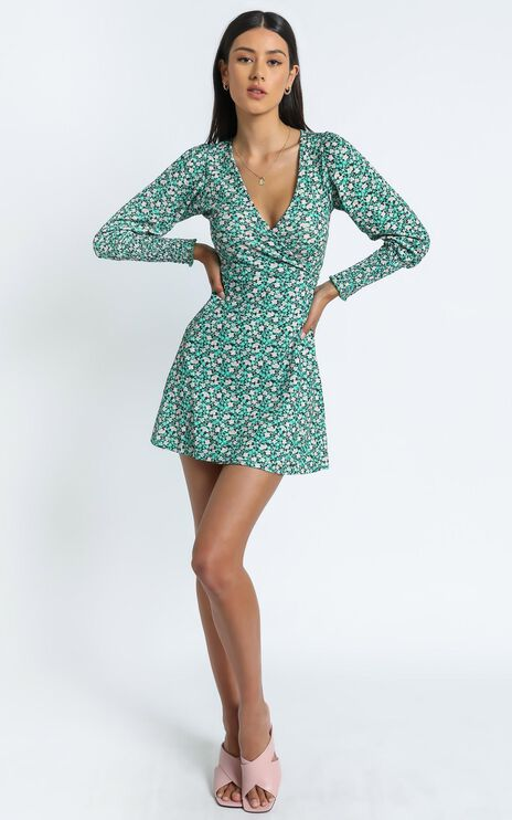 Blithe Dress in Green Floral