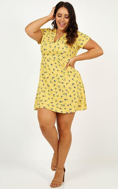 Casual Party Dress in yellow floral - 20 (XXXXL), Yellow, hi-res image number null