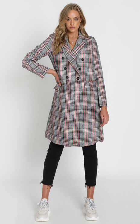 Pernille Checked Coat in Grey Check