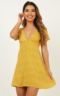 Nothing But Normal Dress In Mustard Print