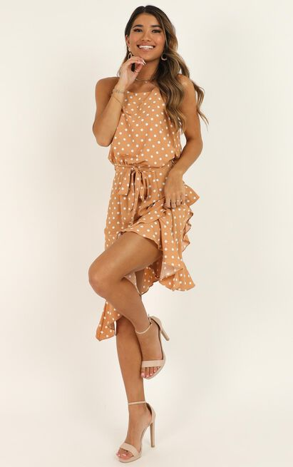Shes So Curious Dress In Tan Spot - 16 (XXL), Tan, hi-res image number null