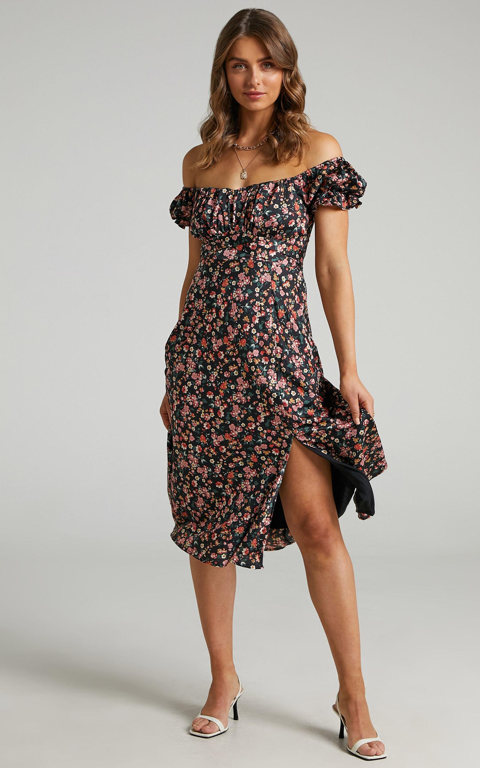 Kordyn Midi Dress in Black Floral - 06, BLK2, super-hi-res image number null