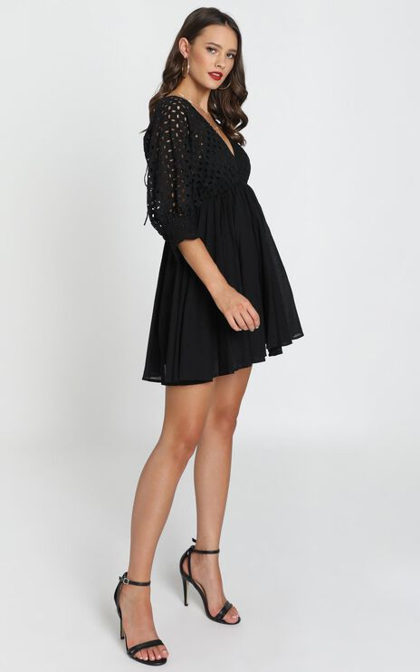 Jacinta V-Neck Embroided Mini Dress In Black