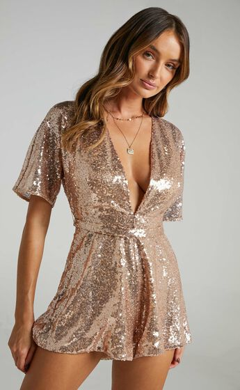 Star Behaviour Playsuit In Rose Gold Sequin