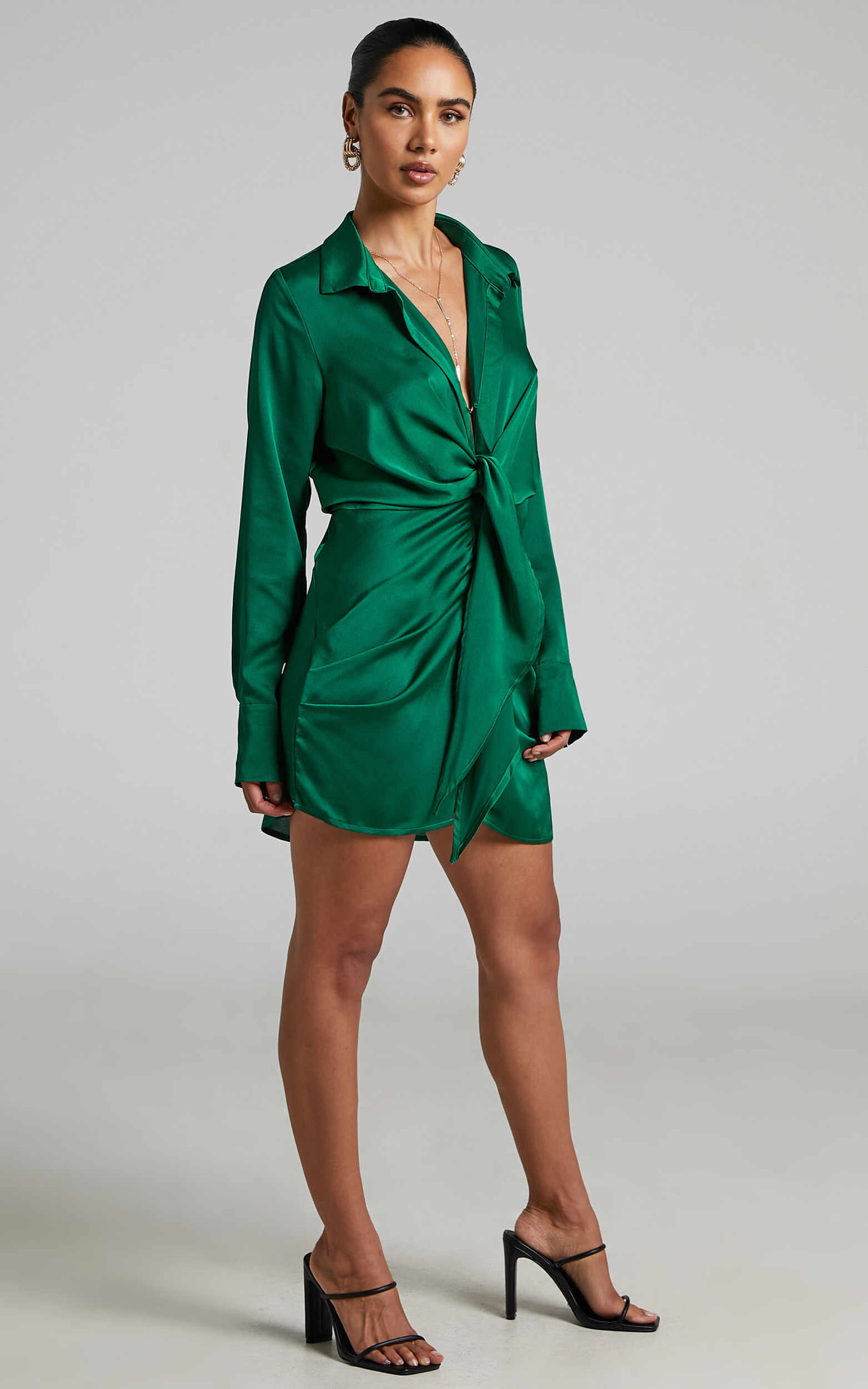 Runaway The Label - Ruby Shirt Dress in Emerald - L, GRN3, super-hi-res image number null