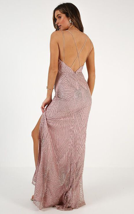 Shine Bright Dress In Rose Gold