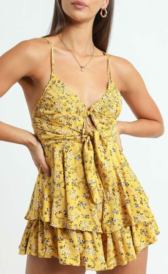 Maggie Playsuit in Yellow Floral