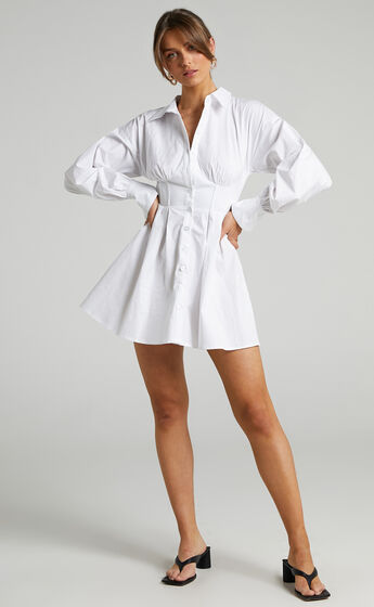 Claudette Collared Button Up Corset Dress in White