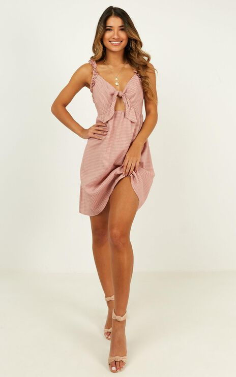 Let Her Go Dress In Blush Check