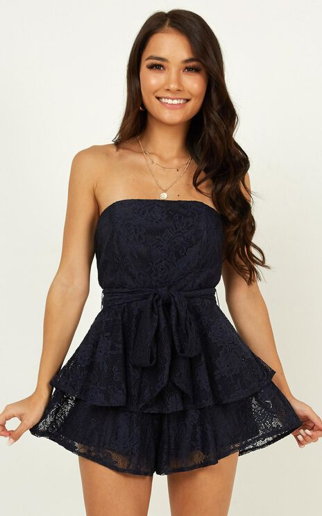I Never Knew Love Playsuit In Navy Lace