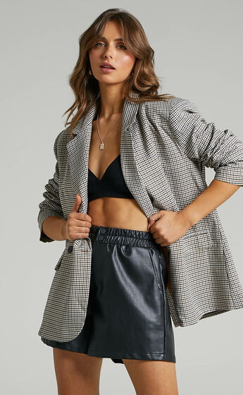 Lunah Check Oversized Double Breasted Blazer in Brown Check