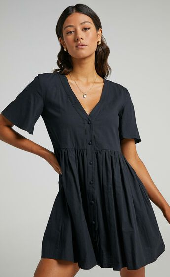 Staycation Smock Button Up Mini Dress in Black