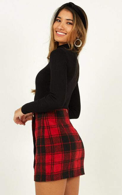 Left Behind skirt in red check - 12 (L), Red, hi-res image number null