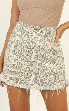 Patricia Denim Skirt In Leopard Print