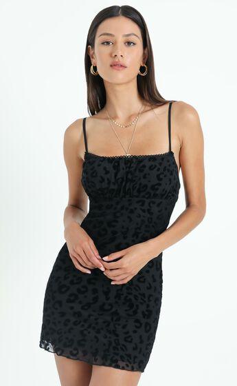 Savannah Burnout Mini Dress In Black Leopard