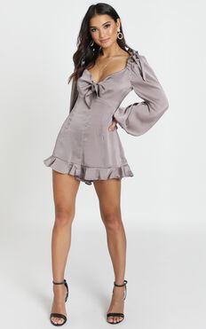 Carlee Playsuit In Grey Satin