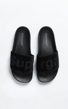 Superga - 1908 Velvet Slides In Black