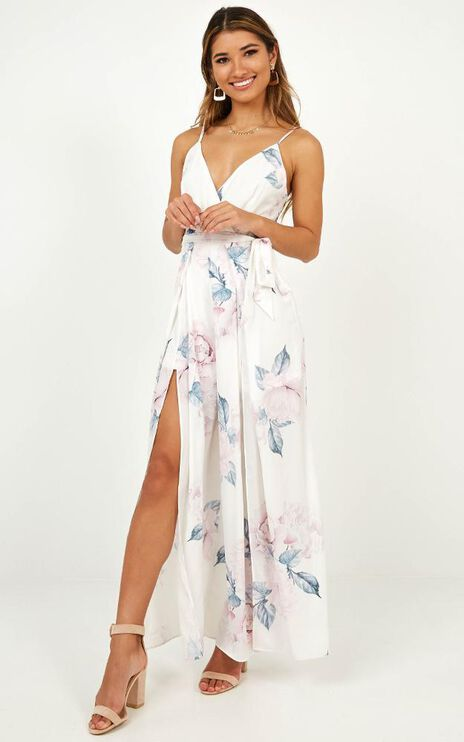 Spellbound Jumpsuit In White Floral