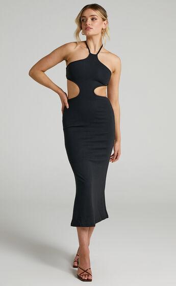 Saskia Side Cut Out Midi Dress in Black
