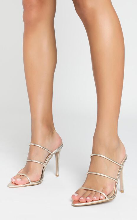 Billini - Preston Heels In Gold Cracked Metallic