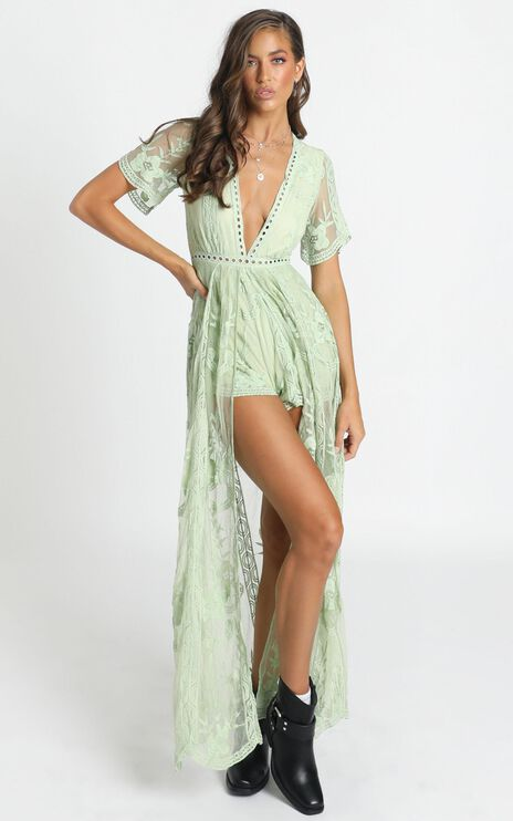 Now Shes Got It Playsuit in Green Lace