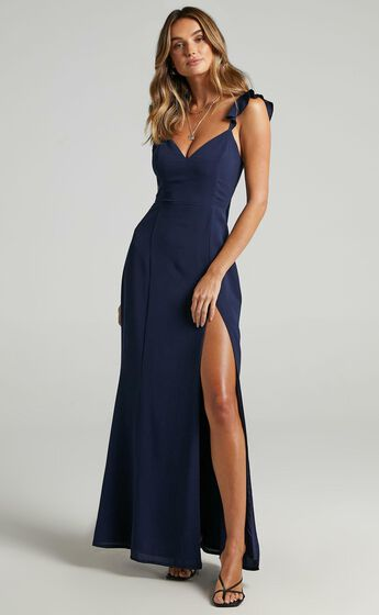 More Than This Ruffle Strap Maxi Dress in Navy