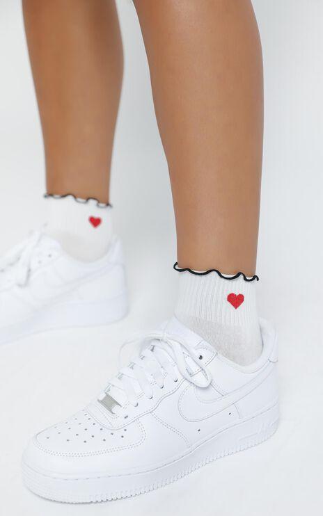 Come Along Heart Socks in White