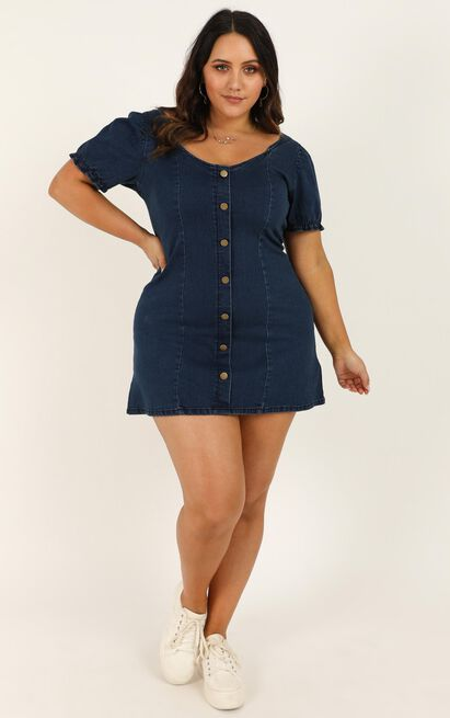 Not Yours Denim Dress in dark blue wash - 20 (XXXXL), Blue, hi-res image number null