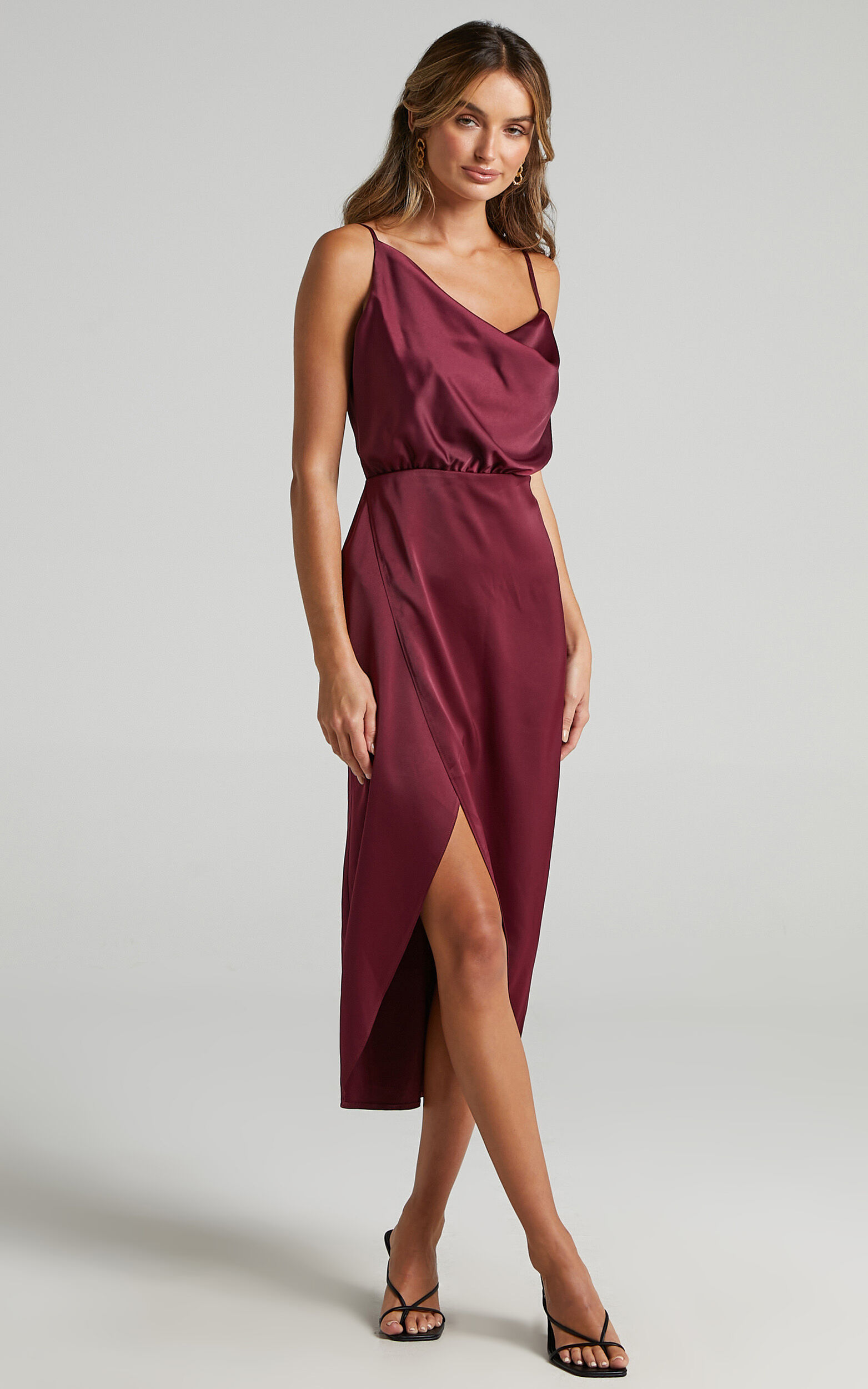 Sisters by Heart Asymmetric Cowl Neck Midi Dress in Mulberry Satin - 06, PNK1, super-hi-res image number null