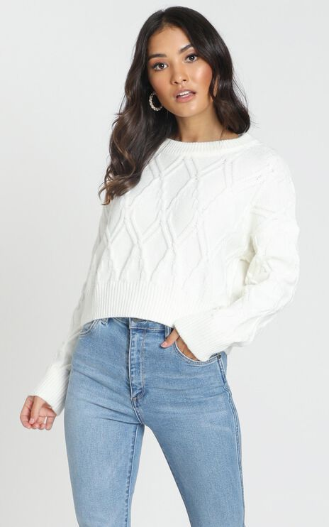 Rae Cable Knit Jumper In Ivory