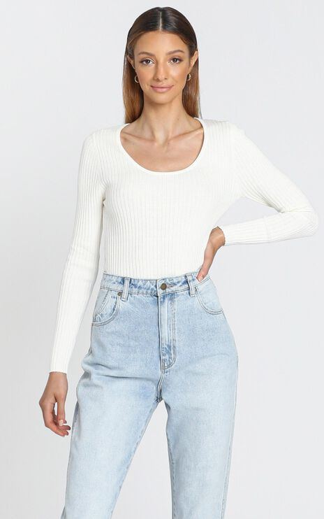 Rollas - Classic Rib Top in Off White